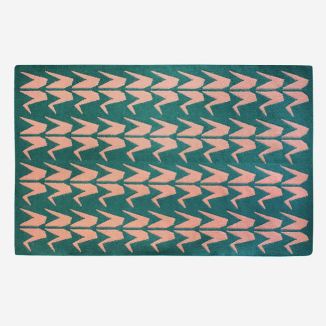 Forest Green and Blush Crane Dhurrie Rug (2 size options)