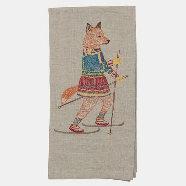 Cross Country Skiing Fox Tea Towel, Kitchen Cloth, Coral & Tusk, Collyer's Mansion - Collyer's Mansion