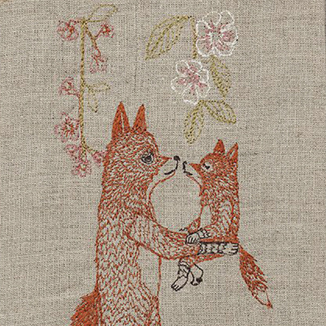 Fox with Blossoms Tea Towel, Kitchen Cloth, Coral & Tusk, Collyer's Mansion - Collyer's Mansion