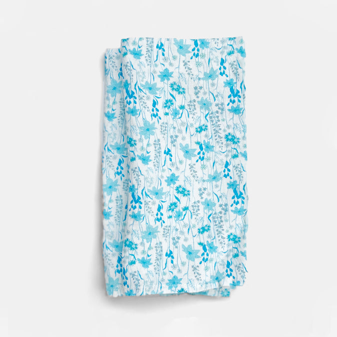 Linen Napkin, blue flower
