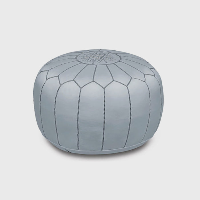 Moroccan Leather Pouf, grey