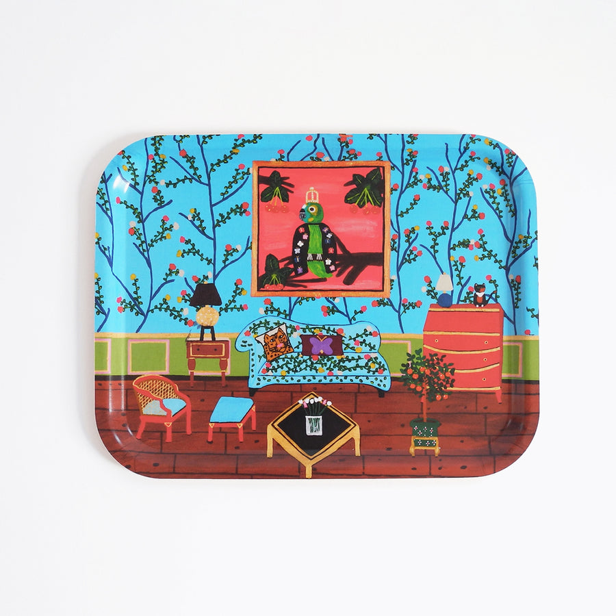 Rectangle designer tray in Scandinavian tray style in a blue home interiors painting for dining or home decor - Collyer's Mansion