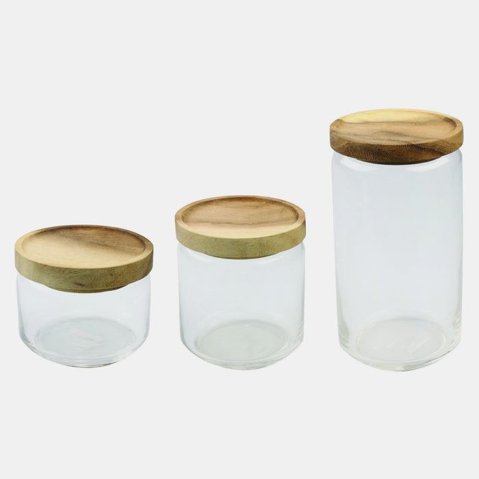 Glass Container with Acacia Lid