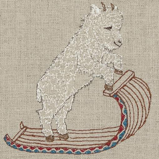 Mountain Goat on Toboggan Tea Towel