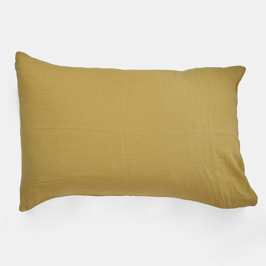 Linge Particulier Yellow Gold Standard Linen Pillowcase Sham for a colorful linen bedding look in honey gold - Collyer's Mansion