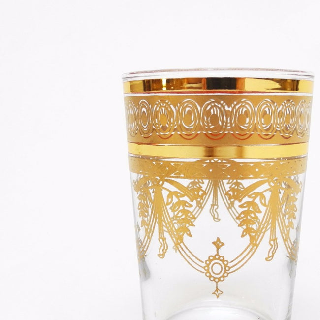 Moroccan Tea Glass with Gold etching is made in Morocco and is a perfect gift or alternative wine glass - Collyer's Mansion