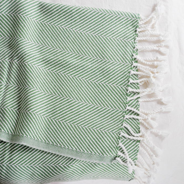 Cotton Herringbone Throw, sugar snap, Throw, Brahms Mount, Collyer's Mansion - Collyer's Mansion