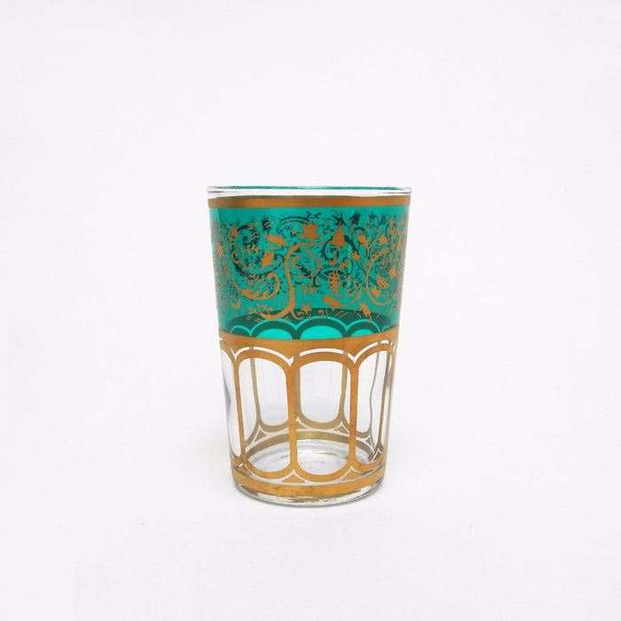 Moroccan Tea Glass with green etching is made in Morocco and is a perfect gift or alternative wine glass - Collyer's Mansion
