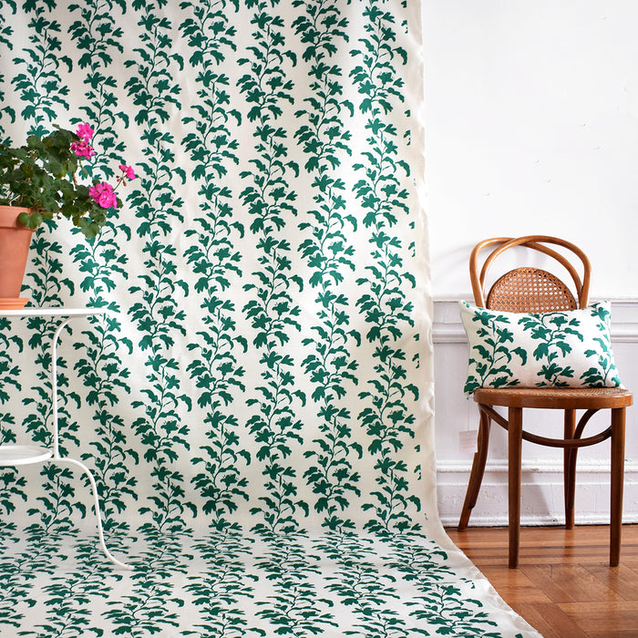 Green Vine Linen Fabric by the Yard