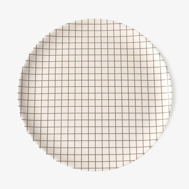 Grey Grid Plate, large