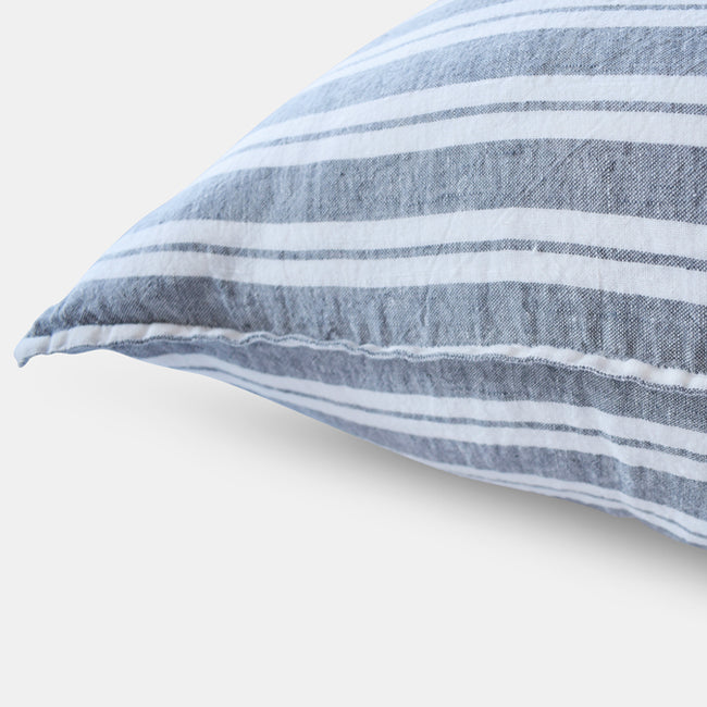 Linen Euro Pillowcase, large grey stripes