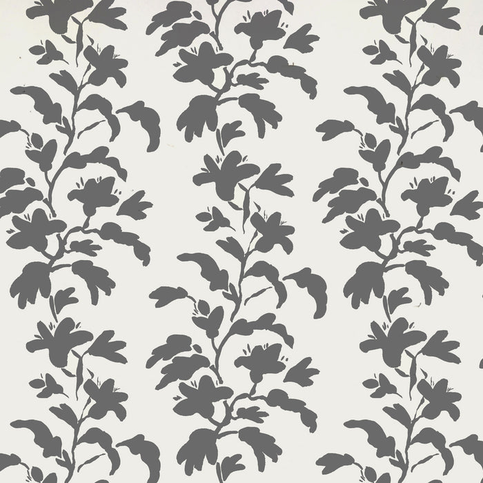 Grey and white vine wallpaper in removable wallpaper and traditional wallpaper with charcoal plants and elephant grey stems - Collyer's Mansion