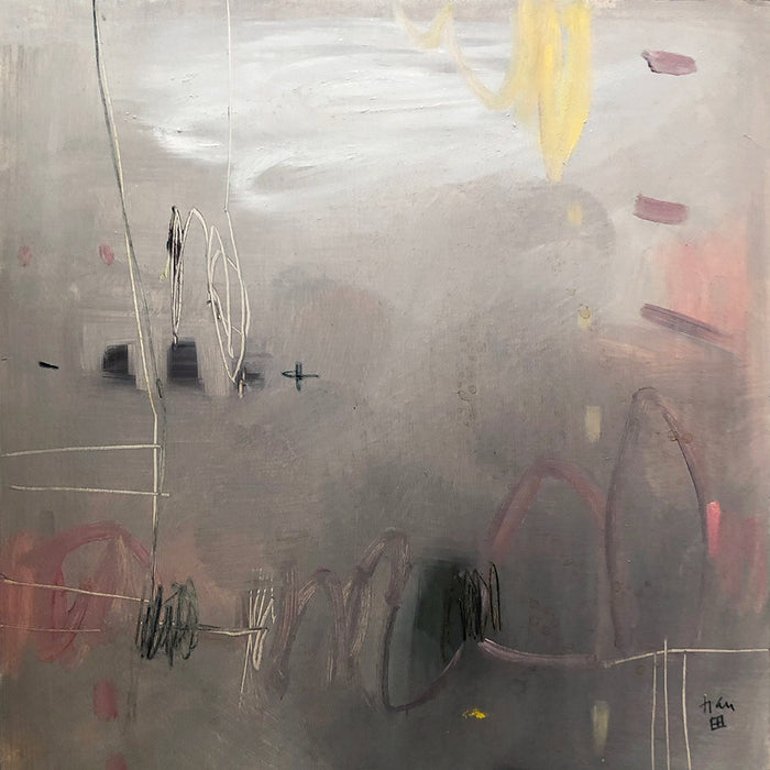 Elaine Tian Original Artwork abstract grey painting on wood for affordable art - Collyer's Mansion
