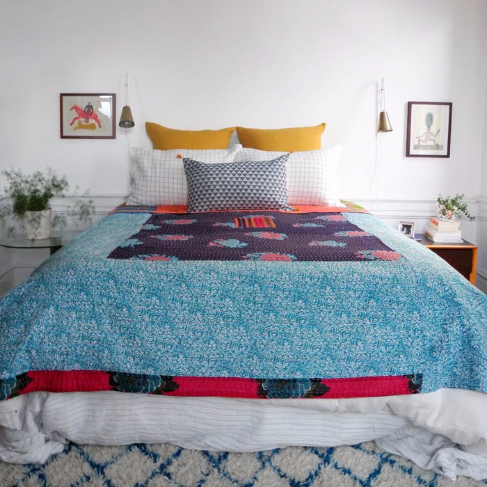 Dark Blue Flower Gudri Bed Cover, queen