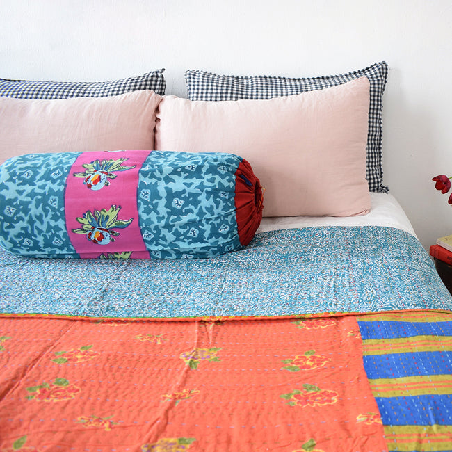 Linge Particulier Anthracite Gingham Standard Linen Pillowcase Sham with a Lisa Corti Gudri kantha quilt and nude pink pillowcases for a colorful linen bedding look in dark check gingham - Collyer's Mansion
