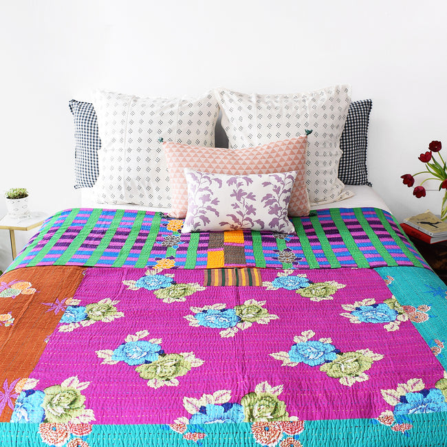 Linge Particulier Anthracite Gingham Standard Linen Pillowcase Sham with a Lisa Corti Gudri kantha quilt for a colorful linen bedding look in dark check gingham - Collyer's Mansion
