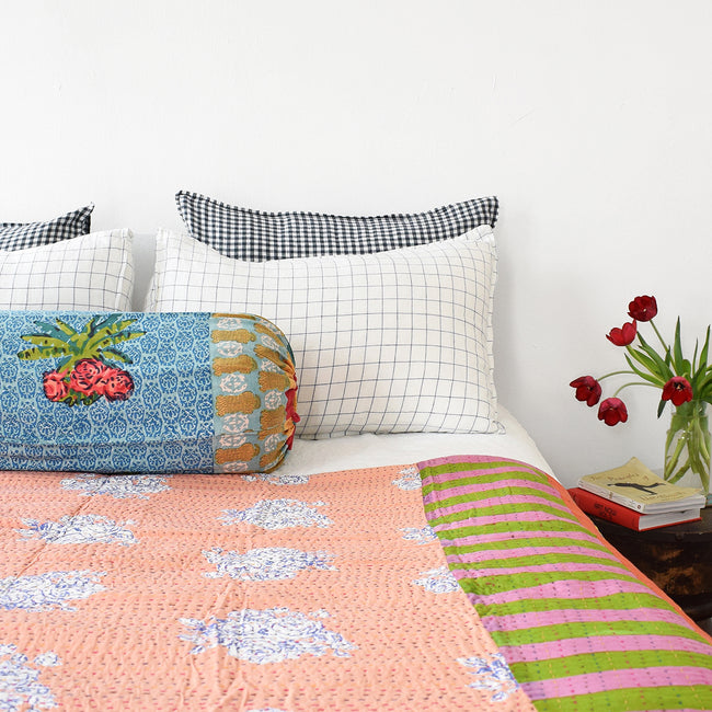 Linge Particulier Navy Check Standard Linen Pillowcase Sham with Lisa Corti gudri kantha quilt and Lisa Corti pillow for a colorful linen bedding look in blue check - Collyer's Mansion