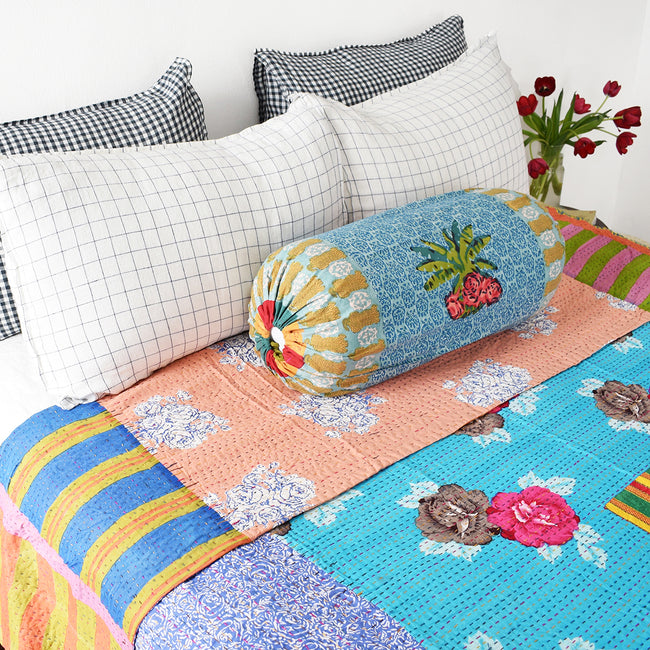 Linge Particulier Anthracite Gingham Standard Linen Pillowcase Sham with a Lisa Corti Gudri kantha quilt and Lisa Corti bolster pillow for a colorful linen bedding look in dark check gingham - Collyer's Mansion