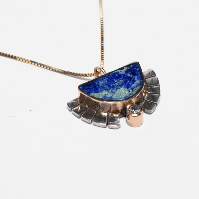 Young in the Mountains Ethically-Made Fine Jewelry Necklace with 14k gold, azurite, and white diamond - Collyer's Mansion