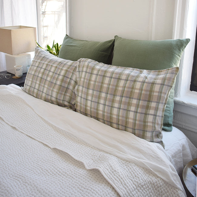 Linge Particulier Hanky Green Plaid Standard Linen Pillowcase Sham with stitched Indian quilt and green euro shams for a colorful linen bedding look in olive check pattern - Collyer's Mansion