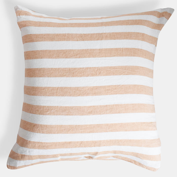 Linen Euro Pillowcase, hazelnut stripe