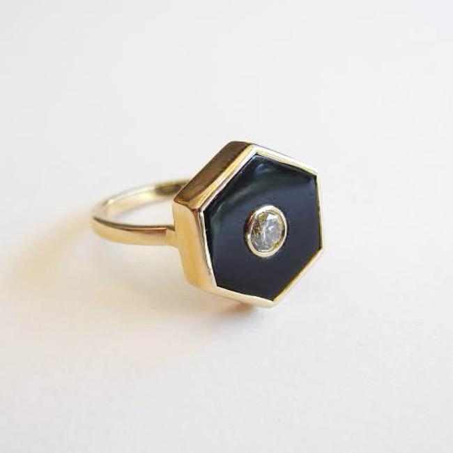 Diamond and Onyx Hexagon Europa Ring