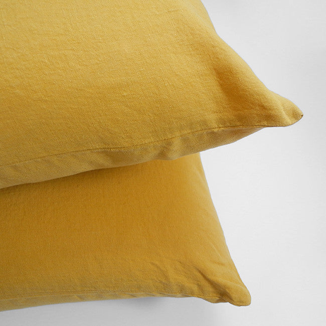 Linge Particulier Honey Yellow Standard Linen Pillowcase Sham for a colorful linen bedding look in mustard yellow - Collyer's Mansion