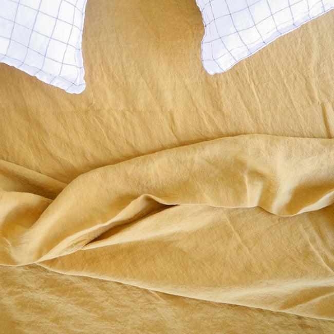 Linen Flat Sheet, honey, Sheet, Linge Particulier, Collyer's Mansion - Collyer's Mansion