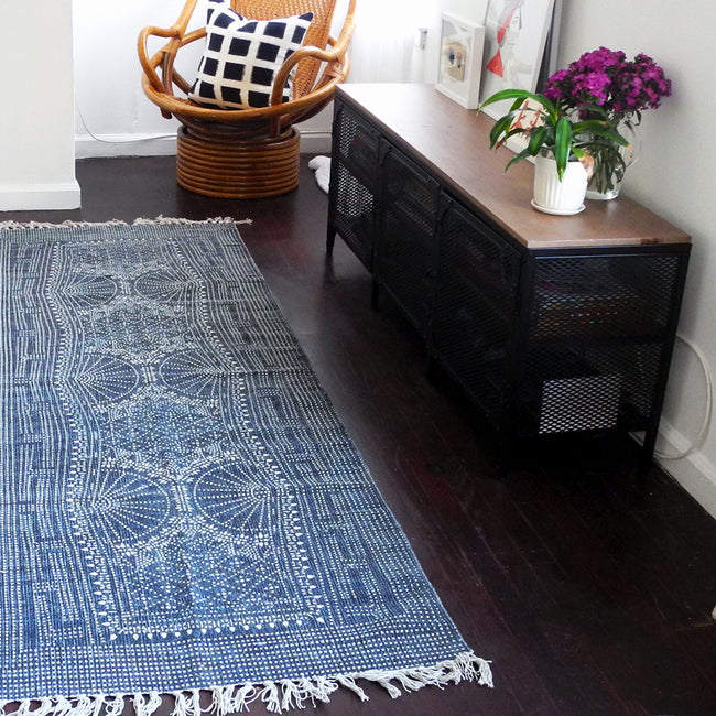 Indigo Batik Runner, Rug, HomArt, Collyer's Mansion - Collyer's Mansion