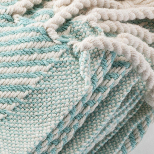 Cotton Herringbone Throw, island blue