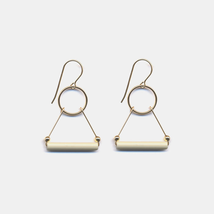 Ivory Triangle Earrings
