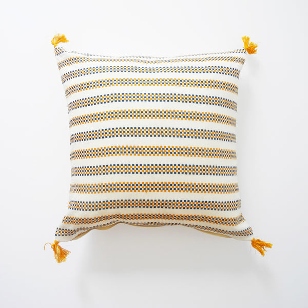 Amelie Blue and Mustard Pillow, square