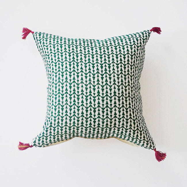 Ashu Green Pillow, square, Pillow, Jamini, Collyer's Mansion - Collyer's Mansion