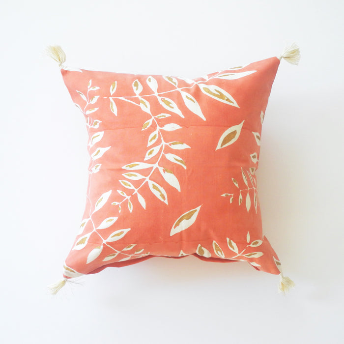 Deeya Pink and Gold Leaf Pillow, square