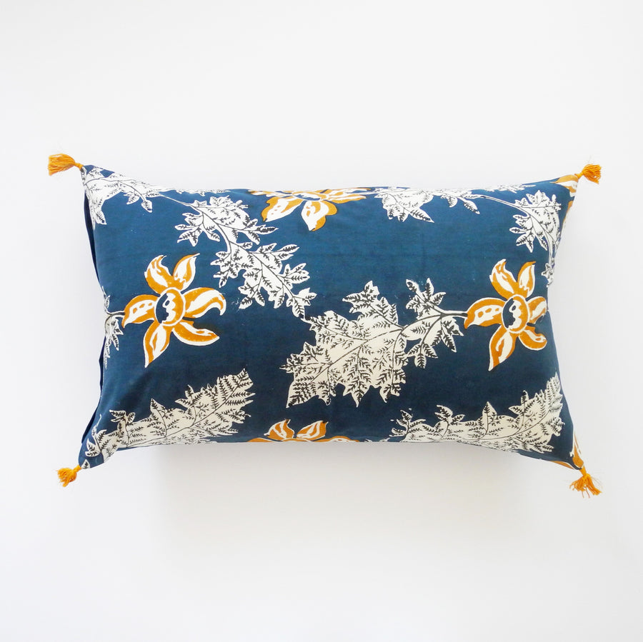 Devi Blue and Mustard Flower Pillow, lumbar, Pillow, Jamini, Collyer's Mansion - Collyer's Mansion