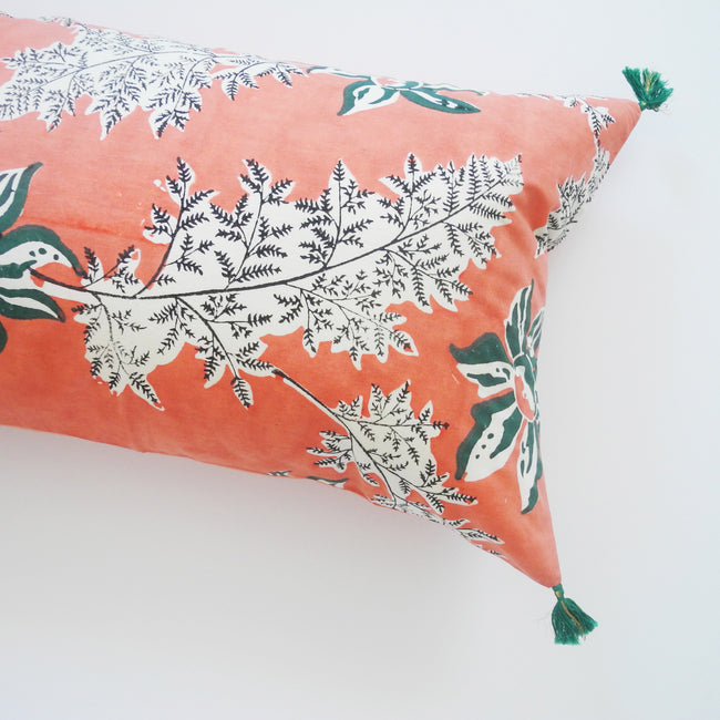 Devi Pink and Green Flower Pillow, lumbar, Pillow, Jamini, Collyer's Mansion - Collyer's Mansion