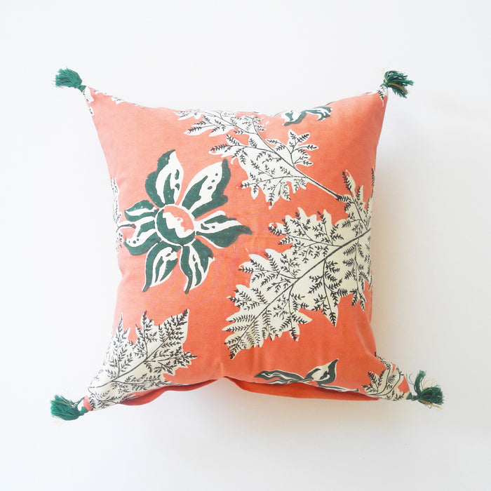 Devi Pink and Green Flower Pillow, square