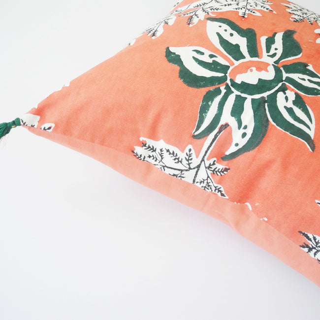 Devi Pink and Green Flower Pillow, square, Pillow, Jamini, Collyer's Mansion - Collyer's Mansion