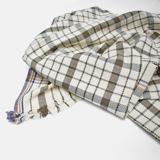 Khaki Olive Green Plaid Stripe Cotton Throw by Moismont at Collyer's Mansion