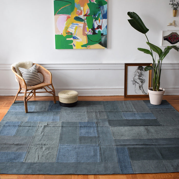 "Dark Blue Vintage Kilim,  7'4"" x 9'9"", Rug, Ada Kilims, Collyer's Mansion - Collyer's Mansion"