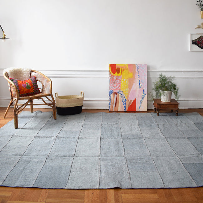 "Light Blue Vintage Kilim,  7'4"" x 9'9"""