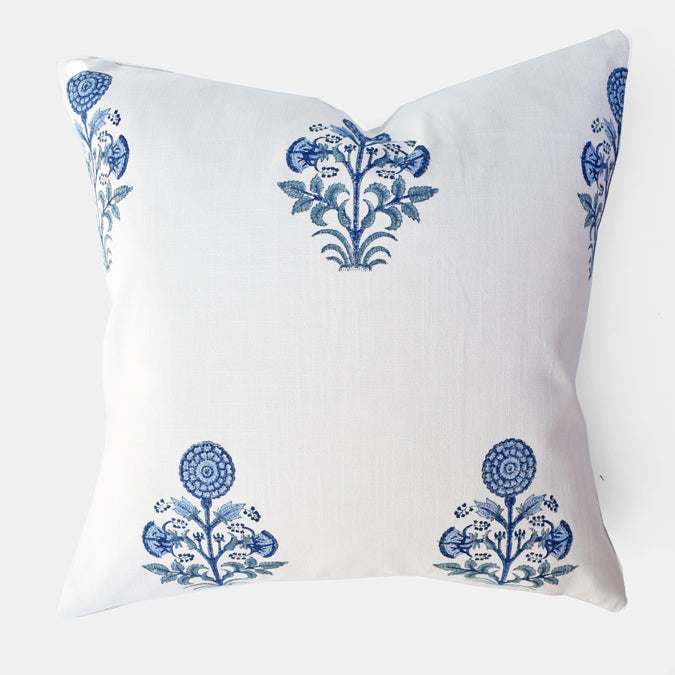 Blue Kusum Pillow, square