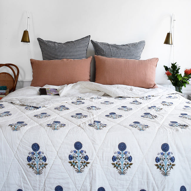 Linge Particulier Moka Standard Linen Pillowcase Sham with a blue block printed quilt for a colorful linen bedding look in earthy clay pink - Collyer's Mansion