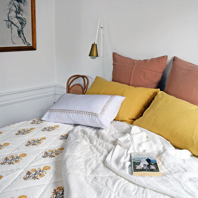 Linge Particulier Yellow Gold Standard Linen Pillowcase Sham with yellow gold floral quilt and copper euro shams for a colorful linen bedding look in honey gold - Collyer's Mansion