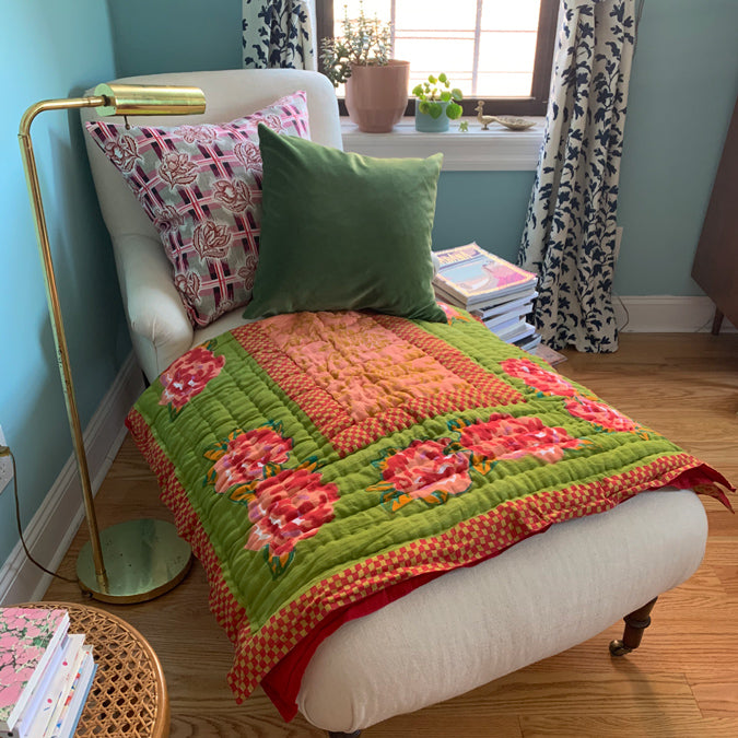 Double Peonia Acid Green Quilt, junior