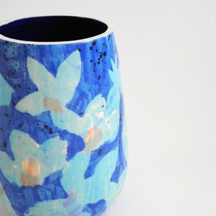 Painted Blue Floral Vase