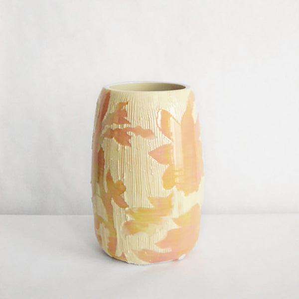 Carved Floral Vase, peach
