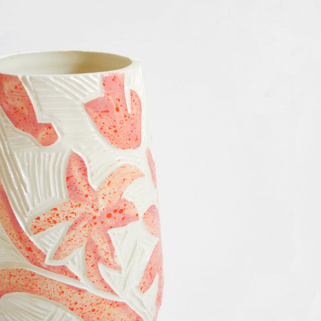 Pink Speckle Carved Floral Vase
