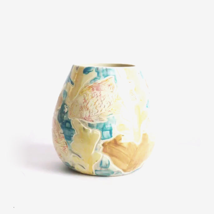 Yellow Carved Coral Vase