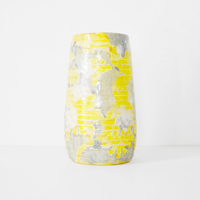 Yellow Carved Floral Vase